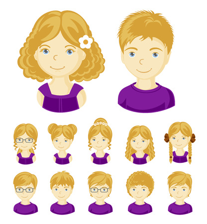 Collection of portraits kids. Children face set. Vector illustration set of different avatars of blonde boys and girls on a white background. Vector illustration.