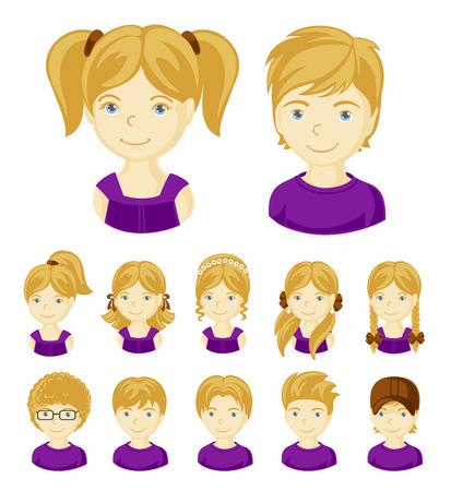 Collection of portraits kids. Children face set. Vector illustration set of different avatars of blonde boys and girls on a white background. Stock Illustratie