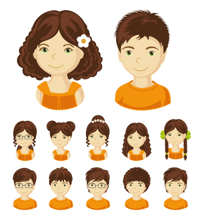 Children face set. Vector illustration set of different avatars of brunet boys and girls on a white background.