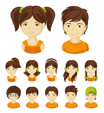 Children face set. Vector illustration set of different avatars of brunet boys and girls on a white background. Collection of portraits kids. Vector illustration.