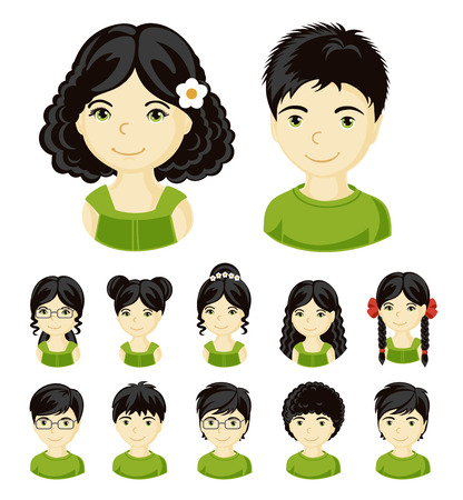 Children face set. Vector illustration set of different avatars of black-haired boys and girls on a white background. Collection of portraits kids. Vector illustration. Vettoriali