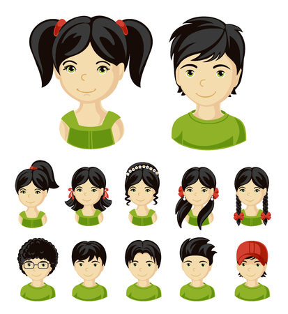 Children face set. Vector illustration set of different avatars of black-haired boys and girls on a white background. Collection of portraits kids. Vector illustration. Иллюстрация