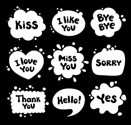 Set of comic style speech bubbles. Collection various blots with, message, phrases, words, expressions. White balloons with text on black background.