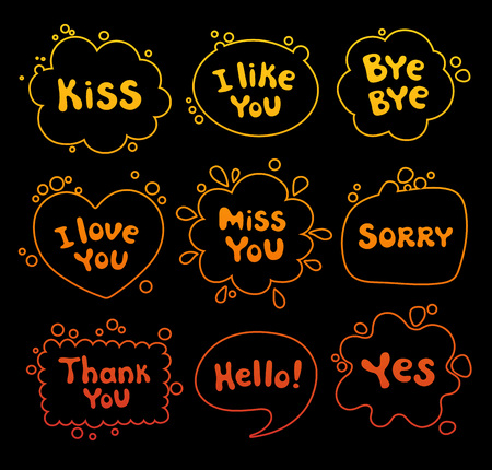 Set of speech bubbles. Phrases written in a cartoon style. Dialog clouds. Vector illustration.