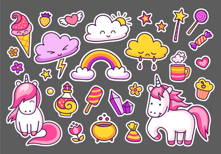 Cute unicorns with magic elements, rainbow, clouds, stars and hearts. Set of stickers, patches, badges, pins, prints for kids. Doodle hand drawn style. Ilustrace