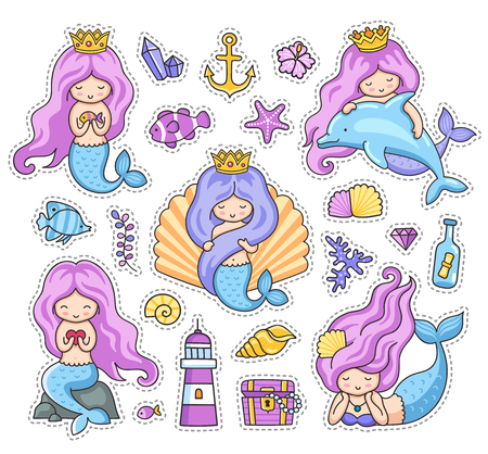 Mermaid with long purple hair. Set of cartoon stickers, patches, badges, pins, prints. Doodle style. Vector illustration