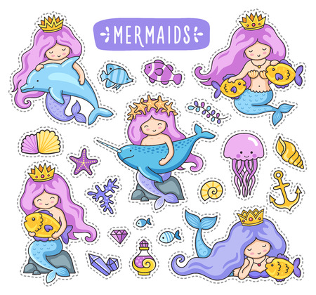 Mermaids, dolphin, narwhal, fish and jellyfish. Cute cartoon characters. Big set of stickers. Vector illustrations