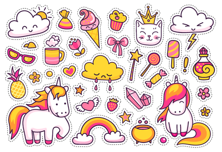 Cute unicorns with magic elements. Set of stickers, patches, badges, pins, prints for kids. Doodle cartoon style. Vector illustration.