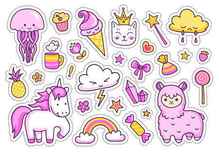 Magic unicorn, alpaca, kitten, jellyfish, rainbow and clouds. Set of stickers, pins and prints for kids. Vector isolated illustration.