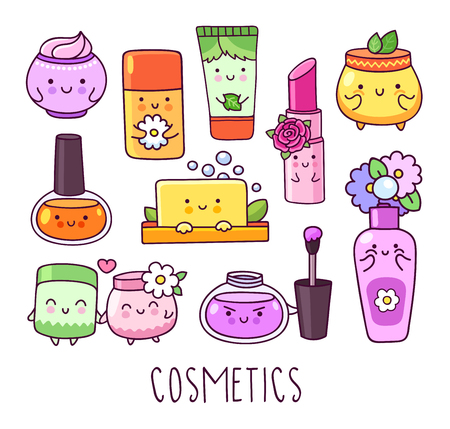 Collection of cosmetics, nail polish, lipstick, lip gloss, cream jar, soap. Cute cartoon hand drawn style. Cartoon characters