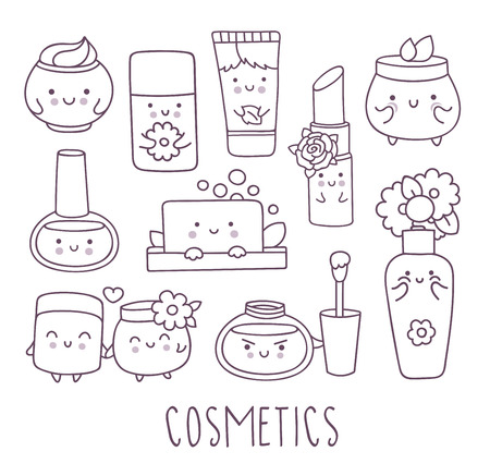 Cosmetics hand drawn doodle set. Cute cartoon character. Vector illustration isolated on white background.