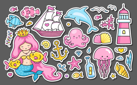 Set of summer sea stickers. Mermaid, fish, jellyfish, dolphin and lighthouse, anchor and ship. Cartoon patches, badges, pins and prints for kids. Doodle style.