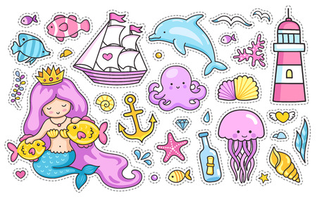 Mermaid and dolphin, sailing ship, jellyfish, octopus, sea shell, lighthouse, anchor and starfish. Set of cartoon stickers for kids. Doodle style. Stock Illustratie