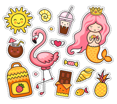 Summer stickers. Little mermaid with pink hair and flamingo, sun, sea shell, chocolate and coconut, pineapple, fish and coffee, drink, beverage, yellow backpack, heart. Set of cartoon patches, badge and pins.