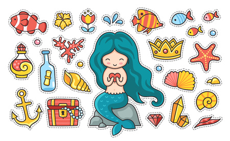 Little mermaid with heart sitting on a rock, fish, starfish, anchor, treasure chest. Set of cartoon stickers, patches, badges and pins, prints for kids. Doodle cartoon style. Vector illustration Ilustrace