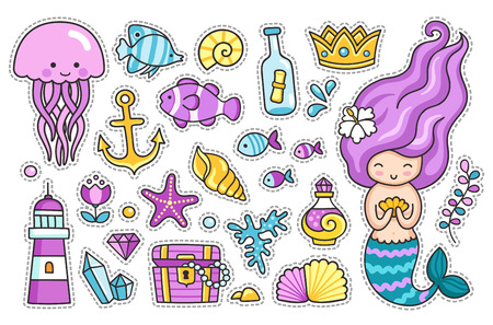 Mermaid, jellyfish, cute sea animals, fish, sea shell, lighthouse, anchor and starfish. Set of cartoon stickers and patches, badges and pins, prints for kids. Doodle cartoon style. Vector illustration. Stock Illustratie