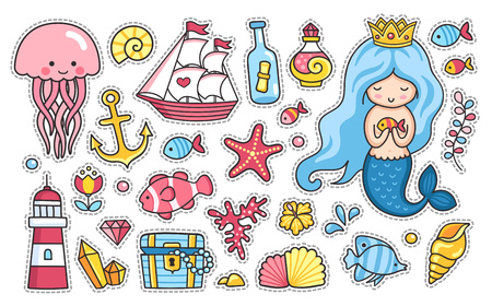 Mermaid and jellyfish, cute sea animals, fish, sea shell, lighthouse, anchor, starfish and treasure chest. Set of cartoon stickers. Doodle style. Vector illustration.