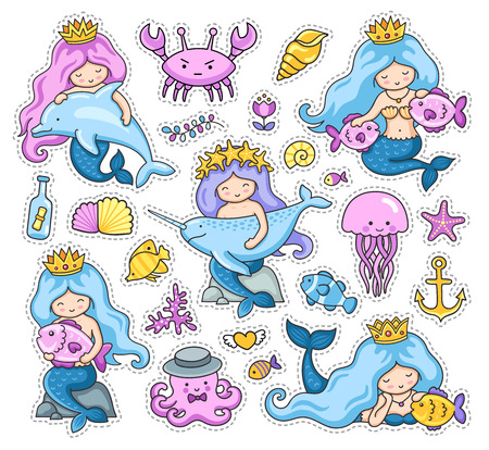 Big set of little mermaids stickers. Crab, jellyfish, octopus, dolphin and narwhal. Under the sea. Set of cartoon patches, badges, pins and prints. Doodle style. Vector illustration.