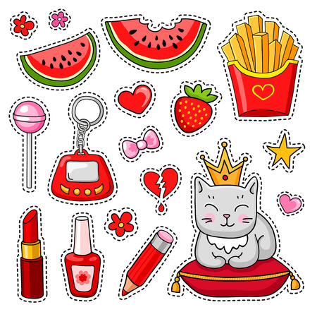 Vector patch badges. Set of cute hand-drawn colorful stickers and pins in cartoon style. Ilustrace
