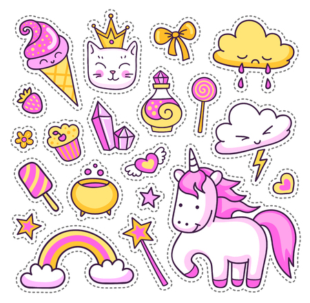 Unicorn, rainbow, magic elements, stars, clouds, cat, ice cream, sweets and hearts on white background. Set of cute cartoon stickers, patches and pins. Doodle, hand drawn style. Vector illustration