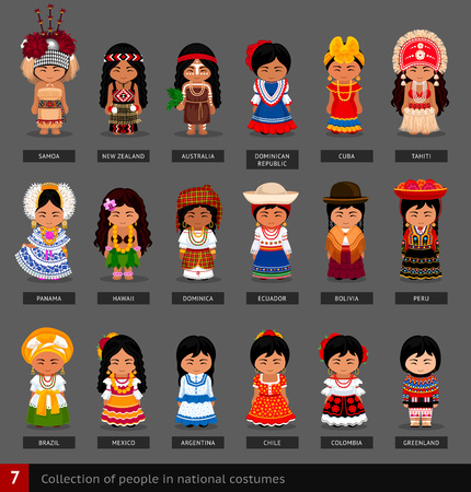 Girls in national costumes. Set of women dressed in national clothes. America, Australia and Oceania. Vector flat illustration. 일러스트