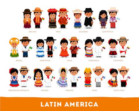 Latinoamericanos en ropa nacional. Gran conjunto de diferentes personajes de dibujos animados en traje tradicional con bandera. Hombres y mujeres. Vector ilustración plana.
