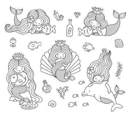 Beautiful little mermaids. Set of hand drawn vector illustrations for coloring book, isolated on a white background. Stock Illustratie