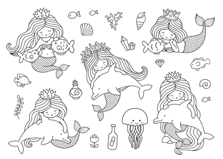Mermaids with dolphins, fish, jellyfish, medusa. Big set of outline illustrations for coloring book.