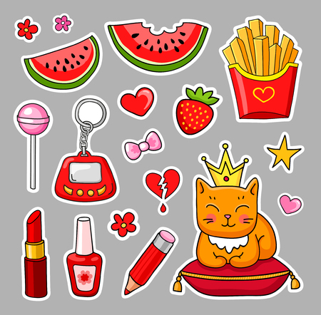 Vector patch badges. Set of cute hand-drawn colorful stickers and pins in cartoon style. Illusztráció