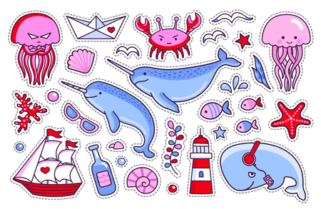 Jellyfish, crab, whale, starfish, fish, narwhal and lighthouse, ship and seagull. Collection of sea stickers, patches and pins. Vector isolated illustration