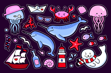 Jellyfish and crab, fur seal, starfish, fish, narwhal, lighthouse, ship and seagull. Collection of sea stickers, patches, badges and pins. Vector isolated illustration