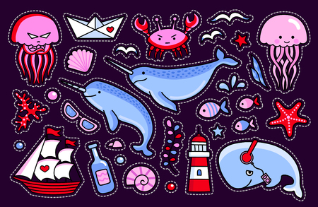 Jellyfish and crab, whale, starfish, fish, narwhal, ship, bottle and seagull. Collection of sea stickers and pins. Vector isolated illustration