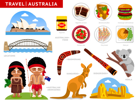 Travel to Australia. Australian aborigines in national clothes. Set of traditional cuisine, architecture, cultural symbols. A collection of colorful illustrations for guidebook. Attractions, places. Illustration