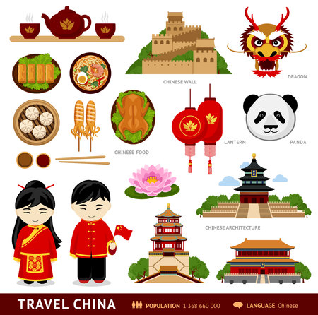 Reis naar China. Set van iconen van chinese architectuur, eten, traditionele kostuums, mensen, nationale culturele symbolen. Verzameling van illustraties om China te begeleiden. Vector platte illustratie.