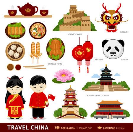 Viaja a China. Conjunto de iconos de arquitectura china, comida, trajes tradicionales, personas, símbolos culturales nacionales. Colección de ilustraciones para orientar a China. Vector ilustración plana.