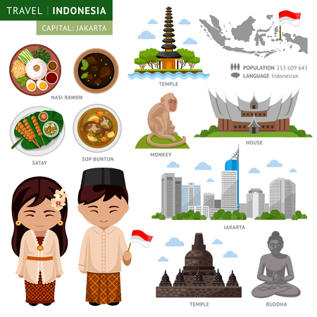 Travel to Indonesia. Bali. Set of traditional cultural symbols, cuisine, architecture. A collection of colorful illustrations for the guidebook. Indonesian peoples in national dress. Attractions. Illustration