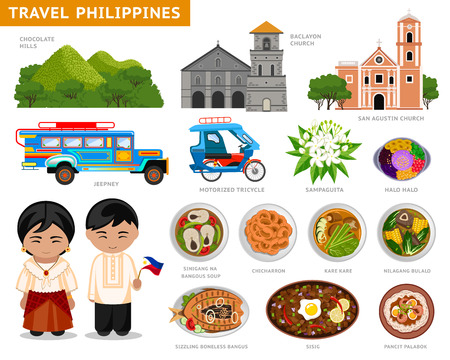 Travel to Philippines. Set of traditional cultural symbols, cuisine, architecture. A collection of colorful illustrations for the guidebook. Filipinos in national dress. Attractions. Vector. Vettoriali