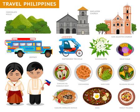 Viaja a Filipinas. Conjunto de símbolos culturales tradicionales, cocina, arquitectura. Una colección de ilustraciones coloridas para la guía. Filipinos en traje nacional. Atracciones Vector.