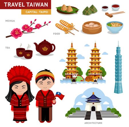 Travel in Taiwan. A collection of colorful illustrations for the guidebook.Taiwanese in national costumes. Man and woman in traditional dress. Set of cultural symbols.Architecture, cuisine. Illusztráció