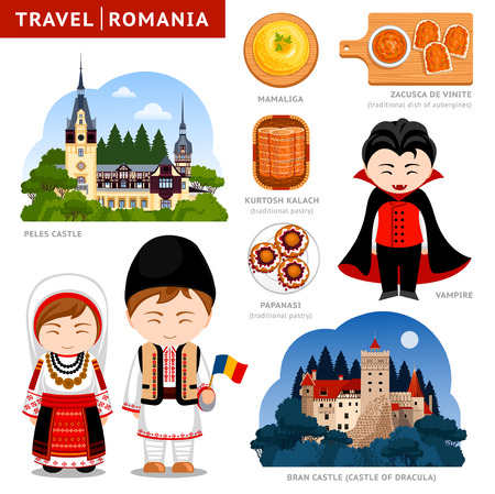 Travel to Romania. Set of traditional cultural symbols, cuisine, architecture, attractions. Collection of colorful vector flat illustrations for the guidebook. Romanians in national clothes. 向量圖像