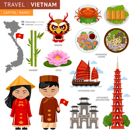 Travel to Vietnam. Set of traditional cultural symbols. A collection of colorful illustrations for the guidebook. Vietnamese peoples in national dress. Man and woman. Vietnamese attractions. Çizim