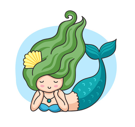Lying mermaid with green wavy hair. Cartoon character. Vector illustration. Illustration