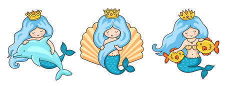 Set of beautiful mermaid princesses with fish, dolphin, seashell. Vector illustrations. Imagens - 114697594