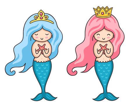Beautiful little princess mermaids. Vector colorful illustration