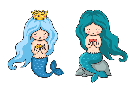 Cute little mermaids with turquoise and dark green hair. Syren, sitting on a rock. Cartoon vector illustration.
