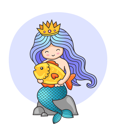 Princess mermaid, sitting on a rock, holding big golden fish. Print for kids, children, babies clothes and fashion. Colorful illustration.