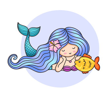 Mermaid with flower in her hair, stroking a fish. Cartoon character for print, poster, postcard. Vector illustration.