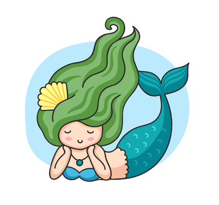 Lying mermaid with green wavy hair. Cartoon character. Vector illustration. Stock Illustratie