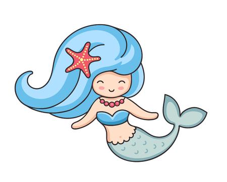 Pretty mermaid with starfish in hair. Cartoon cute character. Vector illustration. Vettoriali