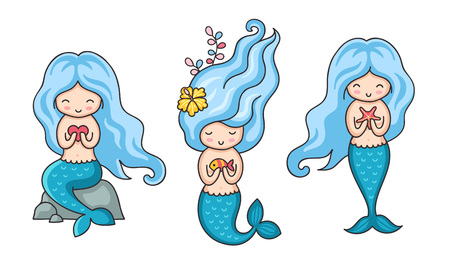Collection of cute little mermaids with blue hair in different poses. Cartoon vector illustration.